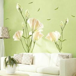 Large Flower Lily Wall Stickers Home Living Room Art Decals
