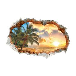 Large Palm Tree Beach Sunset 3D View Removable Wall Decals S