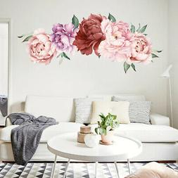 Large Peony Flower Pattern Bedroom Wall Sticker Mural Decals