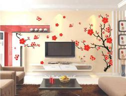 Large Plum Blossom Flower Tree Wall Sticker Art Mural PVC De
