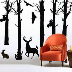 Large Wall Decal Tree Branch Nature Deer Bird Rabbit Squirre