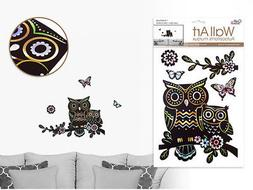 Laser Effect OWLS on BRANCH wall stickers 5 decals black but