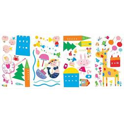 LAZOO wall stickers 53 colorful decal for girls mermaid rabb