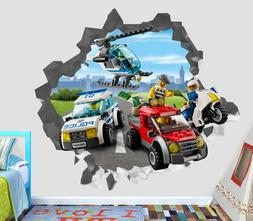 Lego City Police Villain Smashed Wall Decal 3D Sticker Decor