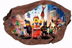 LEGO MOVIE Smashed Wall 3D Decal  Graphic Wall Sticker Mural