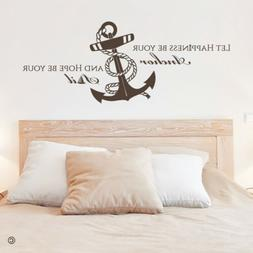 Let Happiness Be Your Anchor Vinyl Wall Decal for Beach Hous
