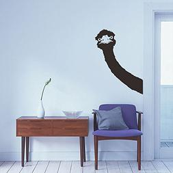 BIBITIME Long Neck Ostrich Wall Decal Animal Head Art Vinyl