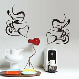 Love Heart Coffee Cups Wall Stickers Vinyl Art Decals Cafe K