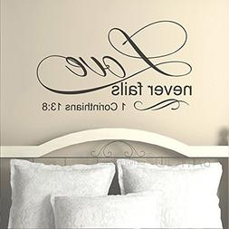 BATTOO Love Never Fails 1 Corinthians 13:8 Wall Decal Quote