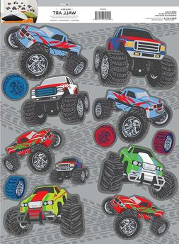 MEGA MONSTER TRUCKS 13 Wall Decals Room Decor Stickers Tires