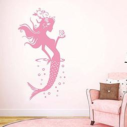 BATTOO Mermaid Wall Decal Hair Girl Sea Ocean Bathroom Bedro