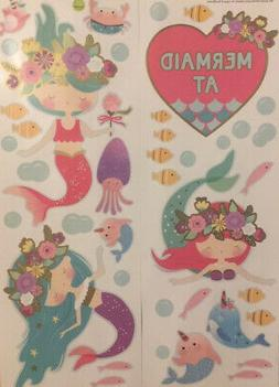 MERMAIDS At HEART wall stickers 40 decals fish bubbles crab
