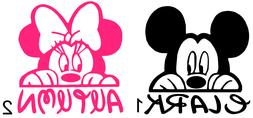 Mickey mouse / Minnie Mouse Personalized name Vinyl Decal B