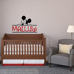 Mickey Mouse Name Wall Decal Nursery Boy - Personalized Baby