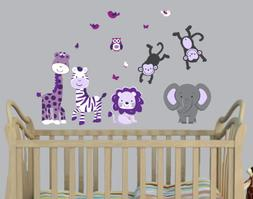 Mini Jungle Wall Decal for Nursery in Purple & Gray with Exp