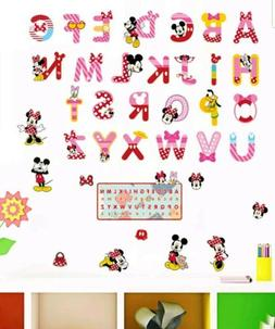 Minnie Mickey Mouse Alphabet Wall Decal Stickers Childs Bedr