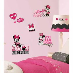MINNIE MOUSE Loves Pink wall stickers 28 Disney decals Heart