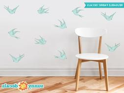 modern birds fabric wall decals set of