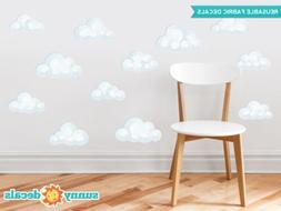 Modern Clouds Fabric Wall Decals - Set of 12 Clouds