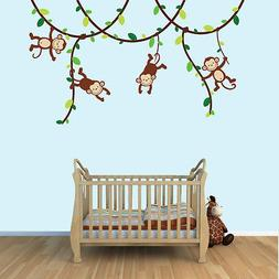 Monkey Vine Wall Decals, Jungle Stickers, Boys Room Decor an