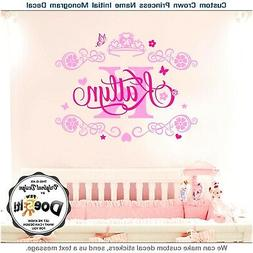 Monogram Name Decal Wall Decal for Baby Girl Wall Sticker Nu