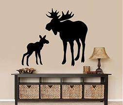 """Moose and baby Calf ~ WALL DECAL, HOME DECOR 22"""" X 24"""""""