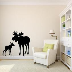Moose and Calf Baby Vinyl Wall Decal Sticker