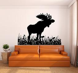 Moose and Grass Vinyl Wall Decal Sticker