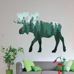 Moose Wild Animal Colored Wall Decals Forrest Pattern Home V