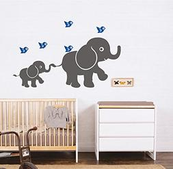 MAFENT Mother and Baby Elephant wall decal with Birds Play a