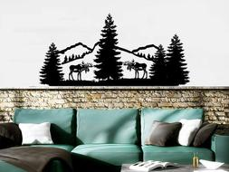 Mountains Wall Decal Forest Landscape Nature Pine Trees Anim