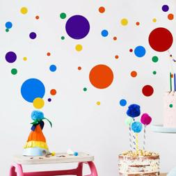 Multicolor Polka Dots Wall Decals Round Dots Wall Stickers f