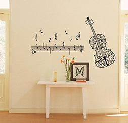 BIBITIME Music Classroom Violin Vinyl Decal Musical Notes Wa