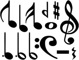 MUSIC MUSICAL NOTES COLLAGE WALL VINYL DECALS MIXED SET & SI