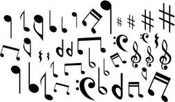 MUSIC NOTES VINYL WALL DECAL STICKERS LOT OF 40 NOTES HOME D