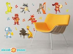 Musical Animals Fabric Wall Decals - Set of 8 Animals Playin