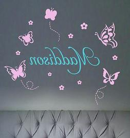 Name + Assorted Butterflies Removable Wall Stickers Personal