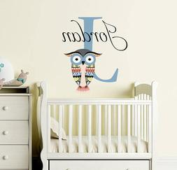 Name Stickers for Nursery. Boys Name Decal. Rustic Owl Stick