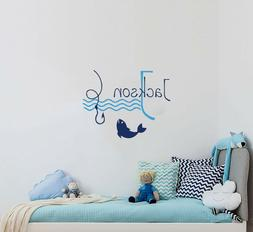 Name Wall Decals For Boys Nursery Fishing Hook Waves Vinyl S