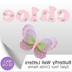 Name Wall Letters Alphabet Stickers Decals Girls Decor Pink