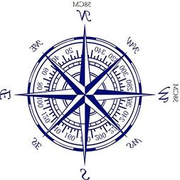 BIBITIME Nautical Compass Rose Wall Decal Decor Vinyl Decals