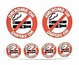 "NO Smoking NO Vaping 2 - 4"" and 4 - 2"" Fabric Decal Sticker"