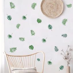 Nordic Green Leaves Wall Decal, Tropical Plant Fresh Leaves