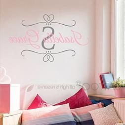 BATTOO Nursery Baby Girl Name Initial Wall Decal - Custom Na