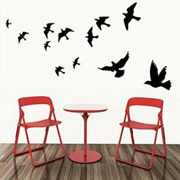BIBITIME Nursery Bedroom 12 Black Birds Wall Decal