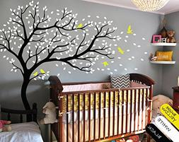 Nursery Bedroom Tree Wall Sticker -Black Tree And Flying Bir