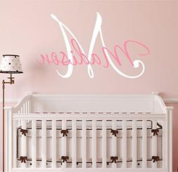 "Nursery Custom Name and Initial Wall Decal Sticker 23"" W by"