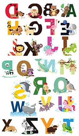 Nursery Educational Wall Decals - Animal Alphabet Baby Decor