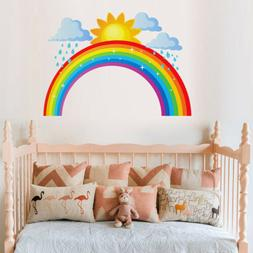 Nursery Girls Room Cartoon Decals Rainbow Sun Cloud Wall Sti