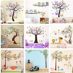 Nursery Removable Owls Tree Wall Stickers For Kids Room Home